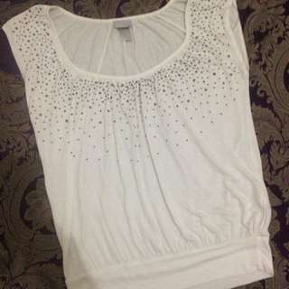 H&M Cotton White Studded Top