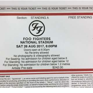 Foo Fighters Tickets National stadium