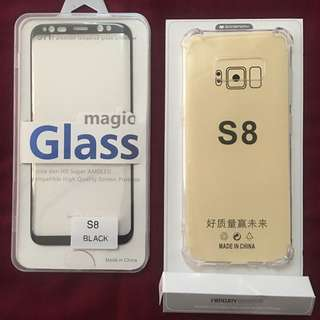 Tempert Glass S8 Free Jelly Case