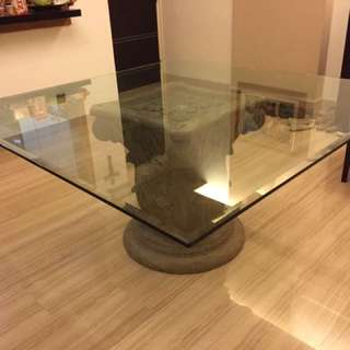 9 Seater Tempered Glass Dining  Table With Stone Base