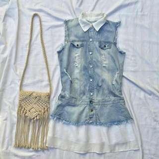 collared denim dress