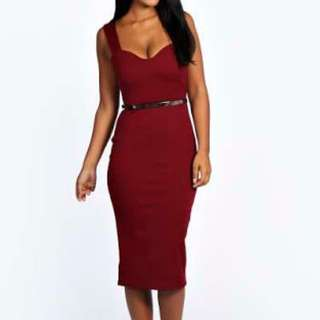 Boohoo Belted Sweetheart Neck Midi Bodycon Dress