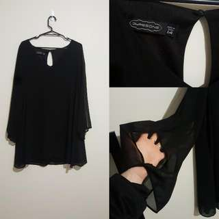 Black Shift Dress Flared Sleeves. Size 14