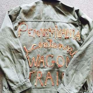 Topshop Khaki Embroidered Jacket