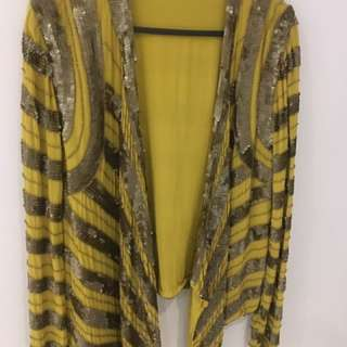 Sequin Yellow Drape Jacket/ Top One Size