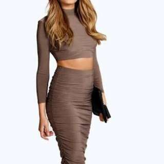 Boohoo Two Piece Long Sleeve Top And Midi Ruched Skirt In Brown