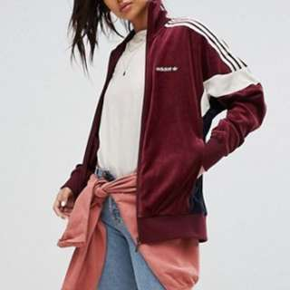 adidas Originals Velour Track Jacket In Burgundy