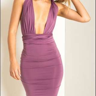 Multiway Purple Bodycon Midi Dress