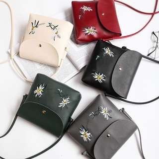 Embroidered Flap Bag