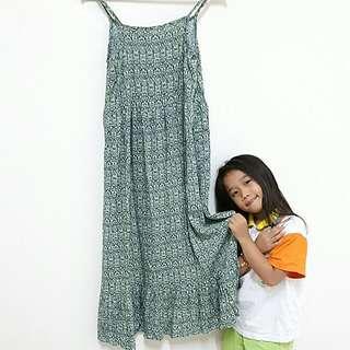 韓國綠色細肩帶親子裝