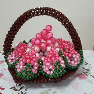 🚚 Handicraft Birthday Present : Basket Of Acrylic Beaded Longevity Buns