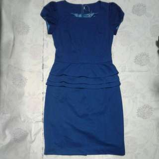 Dark Blue peplum Office Dress (With Lining Inside)