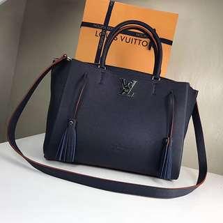 Louis Vuitton Soft Calfskin Lockme Tote Blue M54571