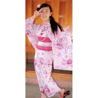 🚚 【代售】純棉櫻花手毯山茶花粉色日版浴衣