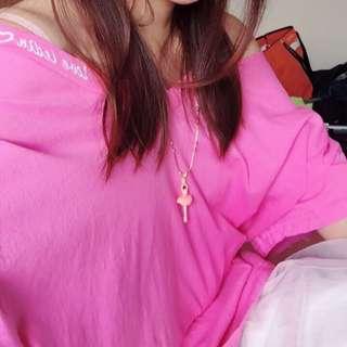 Airspace粉紅小性感休閒寬版上衣