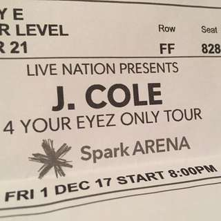J Cole Seated Ticket X1 YOUR EYES ONLY TOUR ✨✨✨✨✨✨