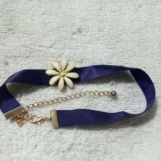 Choker Necklace Purple Flower