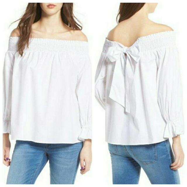 【新款一字領襯衫】(白色)