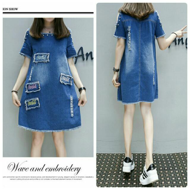 【大碼 日韓版新款牛仔裙中長款短袖裙】(藍色)