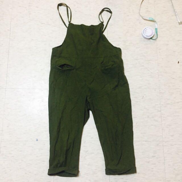棉麻 深綠軍綠抹茶綠 吊帶褲