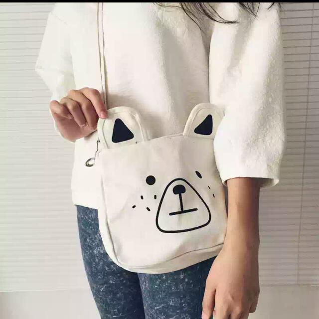 熊熊 可愛 白色 側背包
