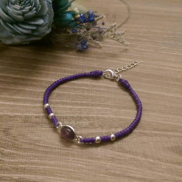 純銀 印度 天然石 紫水晶 蠶絲蠟線 訂製手環