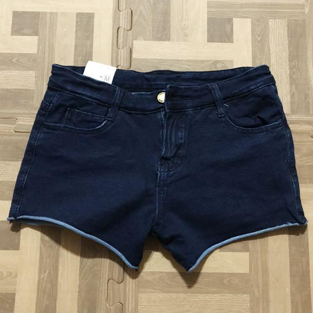 超彈性牛仔短褲 深藍/黑  M碼