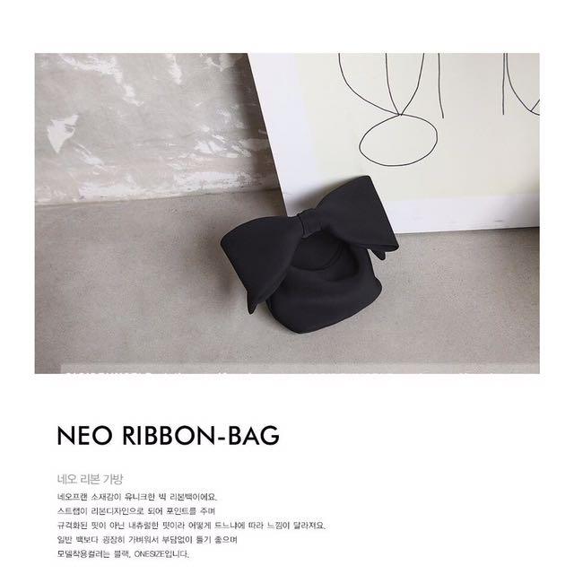 轉賣 蝴蝶結手拿包RIBBON BAG太空棉手提包 超可愛 黑