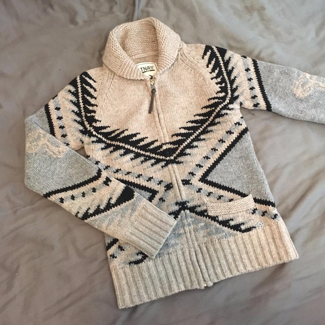 Aritzia / TNA - Beige Lambswool Zip-Up Sweater (L)