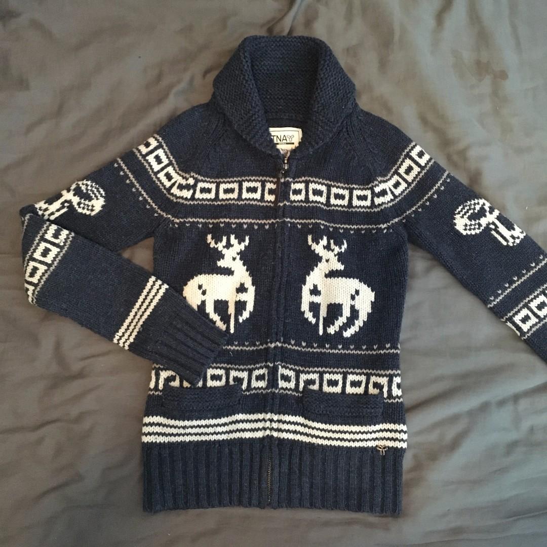 Aritzia / TNA - Blue Lambswool Zip-Up Sweater (S)