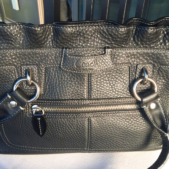 Authentic Coach Purse In Black Leather