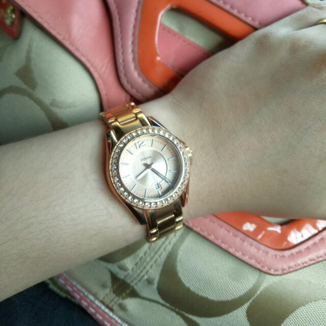 Authentic Fossil Rose Gold