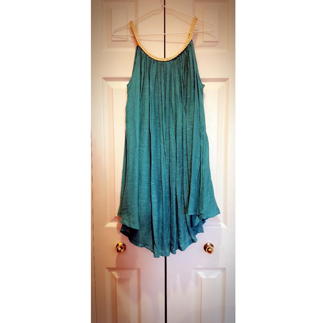 Sky Blue Beach Dress with gold neckline