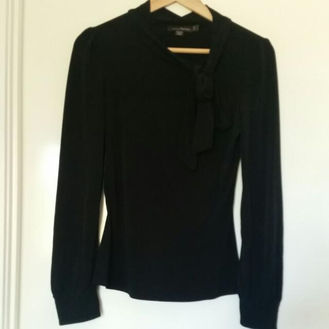 BLACK BLOUSE WITH NECK TIE | SIZE 8