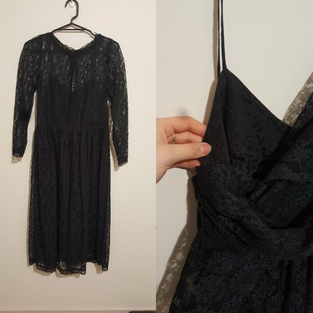Black High Neck Lace Dress. Size M