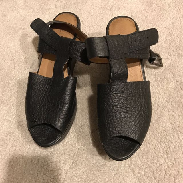 Black Leather Shoes Sandals Wittner