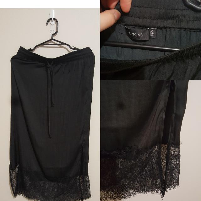 Black Midi Skirt With Lace Trim. Size 10