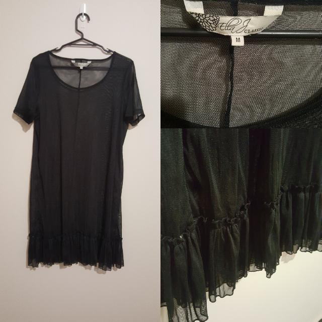Black Sheer Shift Dress With Frill Detail. Size M