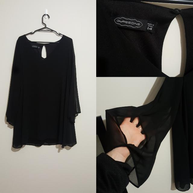 Black Shift Dress Flared Sleeves. Size 14