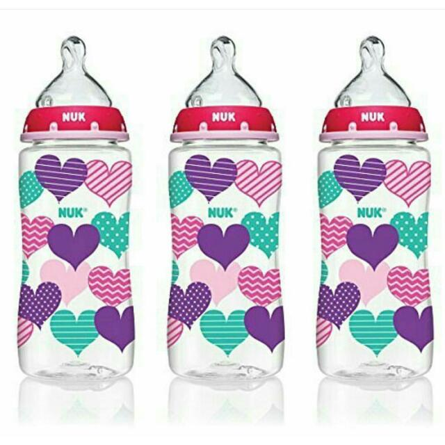 NUK Hearts Baby Bottle with Perfect Fit  Nipple,  10 Ounces- 3pcs