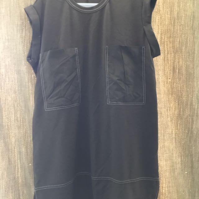 BNWOT : ZARA Collection Military/Moss Green Pocket Dress