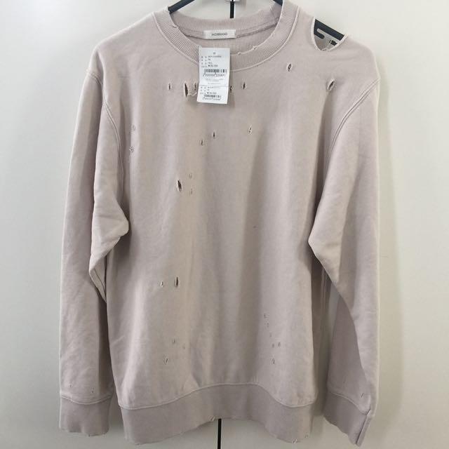 Brand New INDIBRAND Seoul Korea Distressed Holes Sweater Sweatshirt Pullover One Size