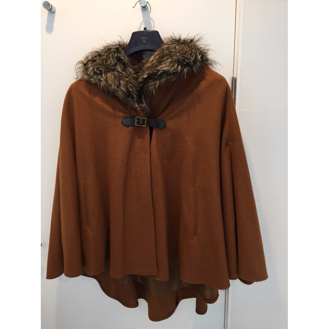 Brown cape-style coat with fur lining
