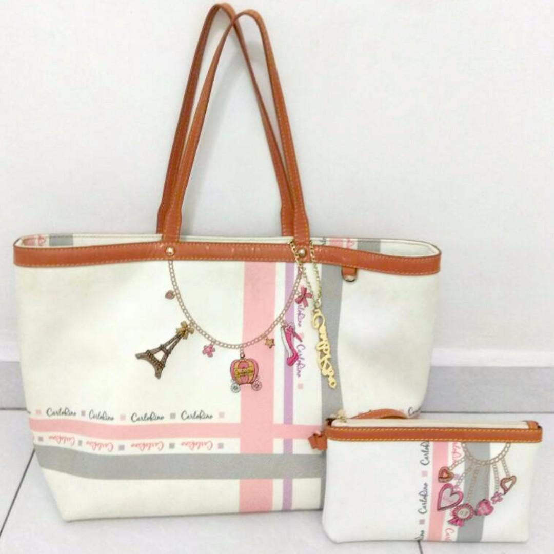 Carlo Rino Paris Tower Princess Design White Base Pink Grey Strip Summer Breeze Collection Handbag Tote Bag Women S Fashion Bags Wallets On