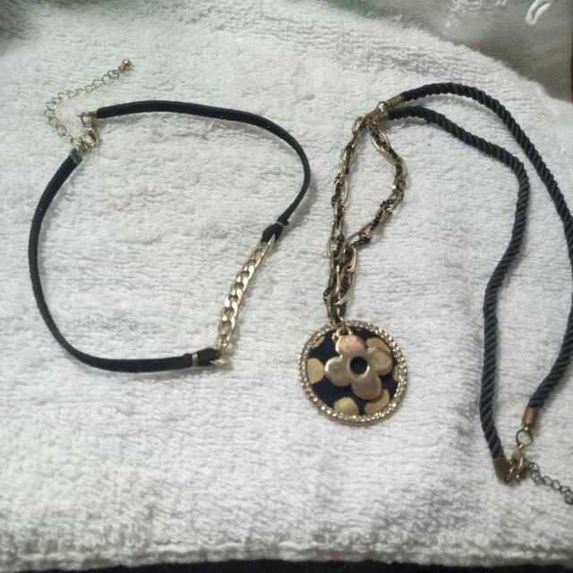 Choker And Long Necklace Bundle (Black And Gold)