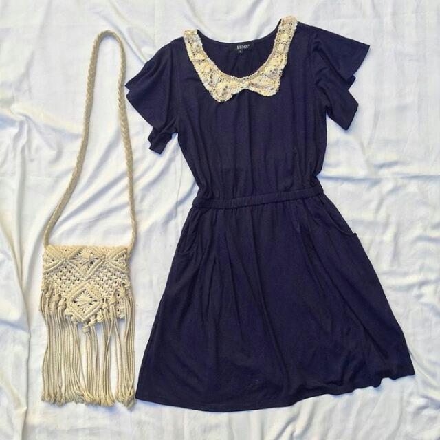 collared navy blue dress