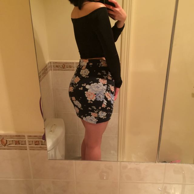 cotton on floral wrap skirt