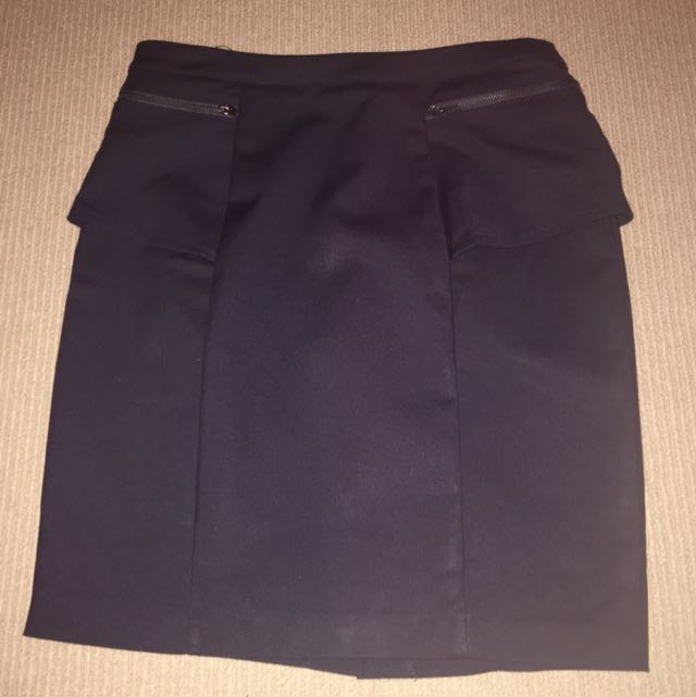Dark Blue Peplum Skirt AUS 8