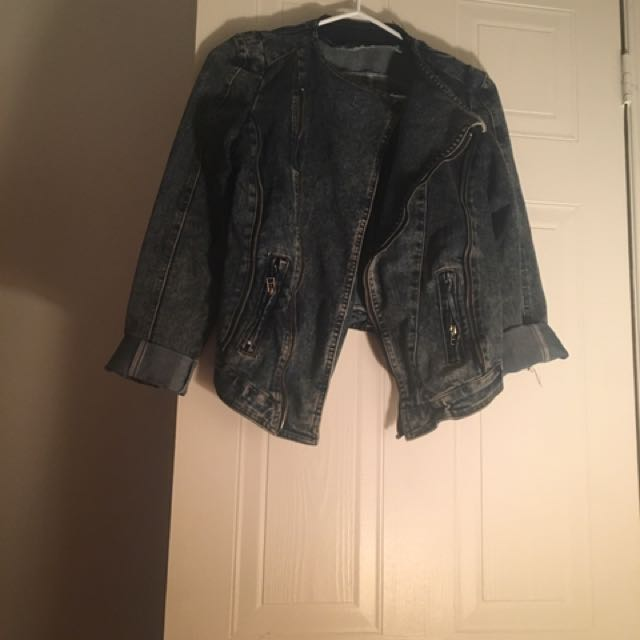 Dark Denim Biker Jacket