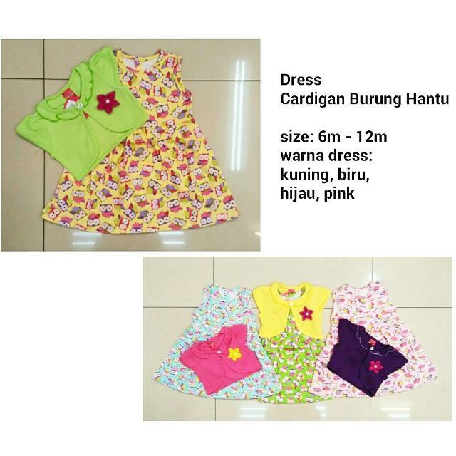 Dress Cardigan Burung Hantu - Baju Anak Lucu Murah, Bahan Kaos Adem